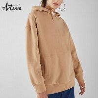 Artsnie Winter 2018 Pockets Hooded Cotton Sweatshirt Women Long Sleeve Oversized Hoodies Khaki Autumn Pullover Sweatshirts Femme