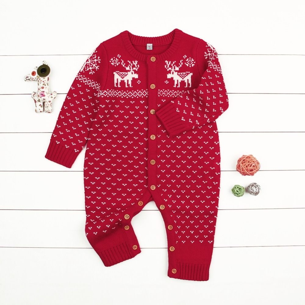 New Baby Girl Romper Newborn Baby Boys Girls Deer Knitting Romper Babies Winter Warm Playsuit Rompers Outfits Christmas Clothing | Happy Baby Mama