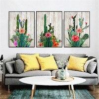 Canvas Wall Art Flowering Desert Cactus Watercolor Painting Home Decor Print Poster Wood Grain Background Flower Picture 3PCS