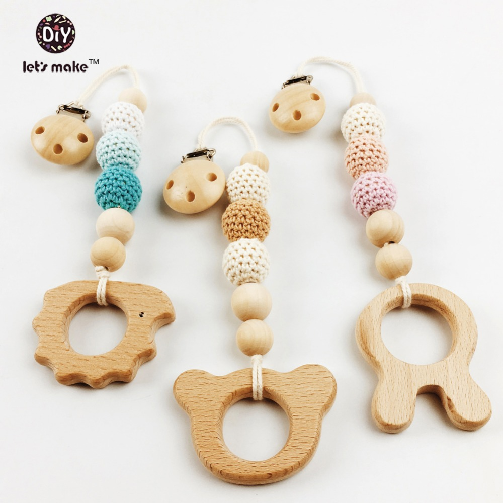 baby teether crochet holder pacifier clip Baby shower Pacifier Clip Crochet teether Bear rabbit wooden teether teething toy