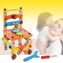 где купить Disassembly Toys Handmade Chair Variety Nut Combination Assembled Tool Chair Children Building Blocks Toys Gifts дешево