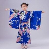 Children Vintage Yukata Kid Girl Dance Costumes Child Novelty Cosplay Floaral Dress Japanese Baby Girl Kimono Dress H532