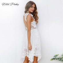 WildPinky Boho White Lace Dress Women Backless Hollow Out Sexy Party Dresses Elegant Solid V Neck Summer Dress Vestidos Female