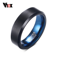 Vnox Fashion Blue Tungsten Carbide Rings For Men Textured 6MM Promise Wedding Bands Ring Men Jewelry