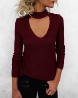 New 2017 Autumn Women Knitted T Shirts V Neck Halter Long Sleeve Bodycon Slim Sexy T