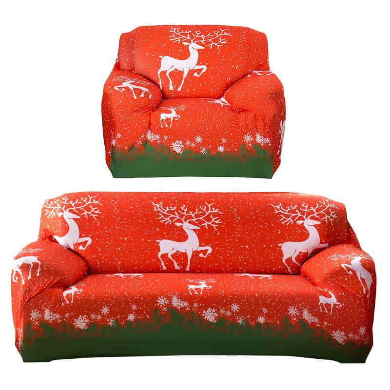 Christmas Elk Printed Stretch Sofa Cover Couch Slipcover Furniture Cover Xmas Home Sofa Case Christmas Decorations