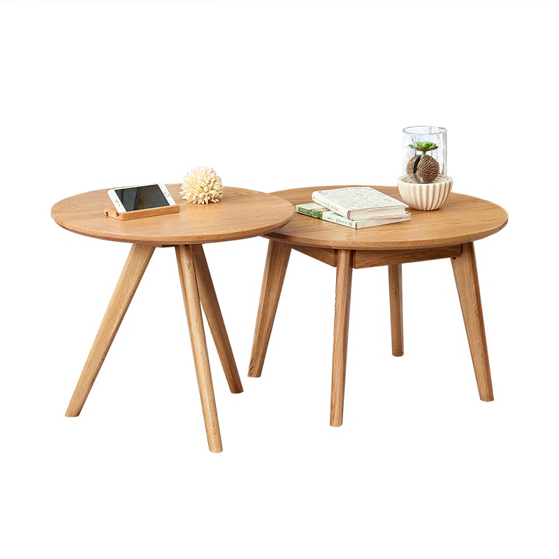 Oak solid wood round coffee table Japanese style living room round log Nordic small apartment combination round table