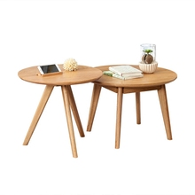 Oak solid wood round coffee table Japanese style living room log Nordic small apartment combination