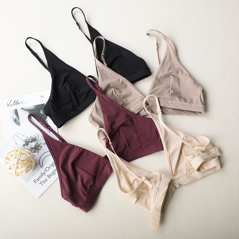 Seamless Ladies Unlined Bralette Solid Color Wirefree Bras Female Lingerie Underwear Sexy Halter Brassiere Iced Touch