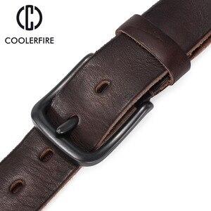 Image 5 - Rugged full grain leather belt man casual vintage belts men genuine vegetable tanned cowhide original strap male girdle TM007