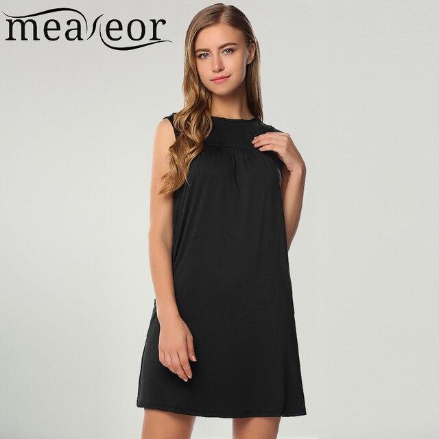 3e6ba47060c240 Meaneor Women's Summer Dress Casual Sleeveless Solid Side Pockets O Neck  Ladies Straight Mini Dress Female Vestidos