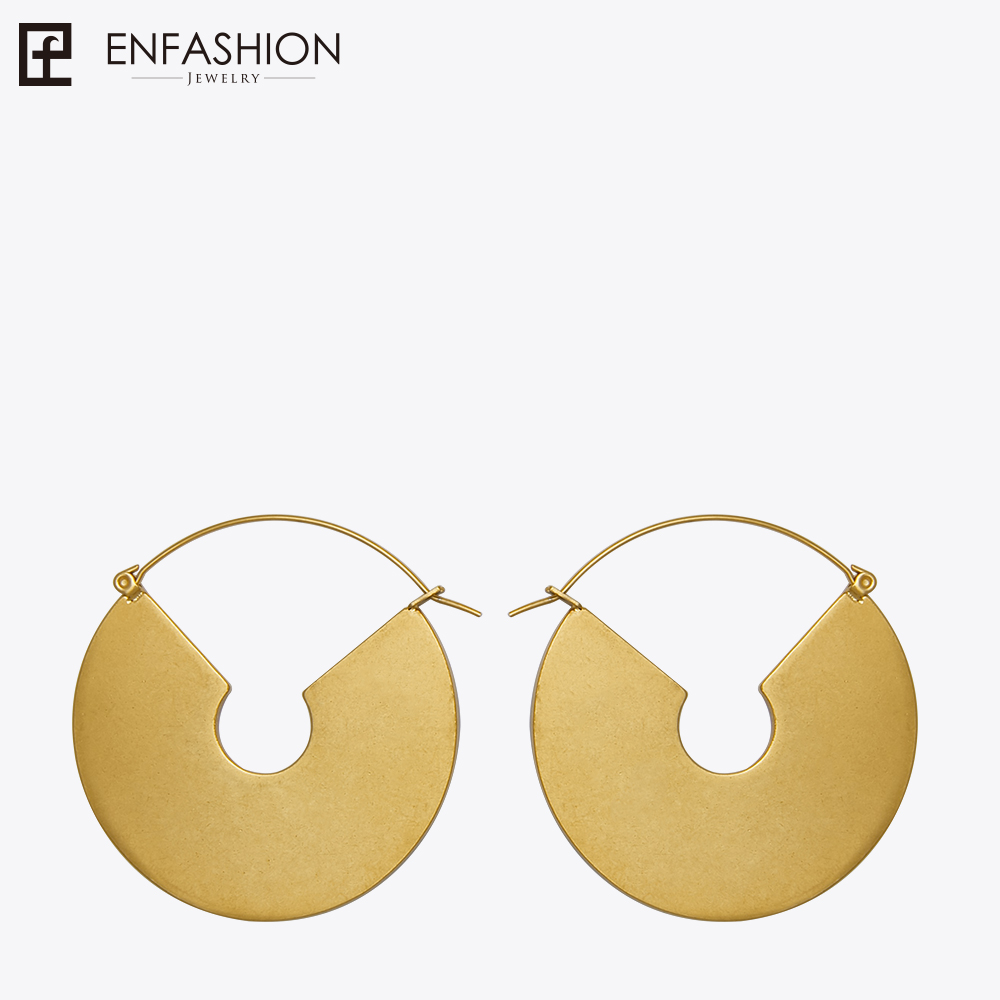 Enfashion Vintage Big Lingkaran Menjuntai Anting warna Matte Emas Earings Drop Earrings Untuk Wanita Panjang Perhiasan brinco