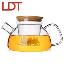 LDT 600 ml Handgefertigten Glas Teekanne Glas Sieb Bambus Abdeckung Teekanne Hitzebeständigem Glas Teekannen Wasserkocher Blume Teekanne drink