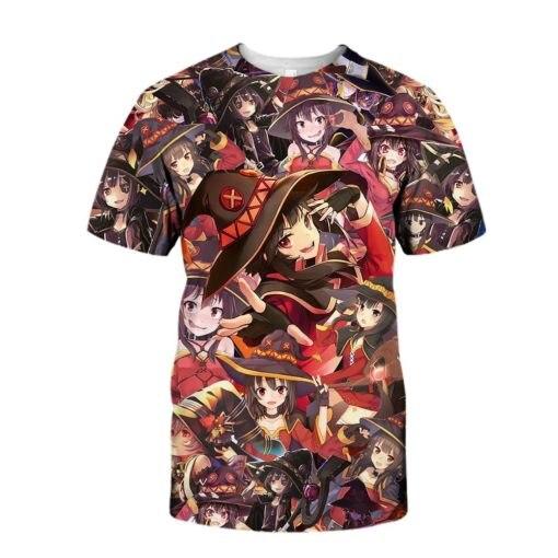 Almosun megumin konosuba dia das bruxas crewneck 3d todo impressão camisetas hipster verão rua wear t roupas masculinas eua tamanho