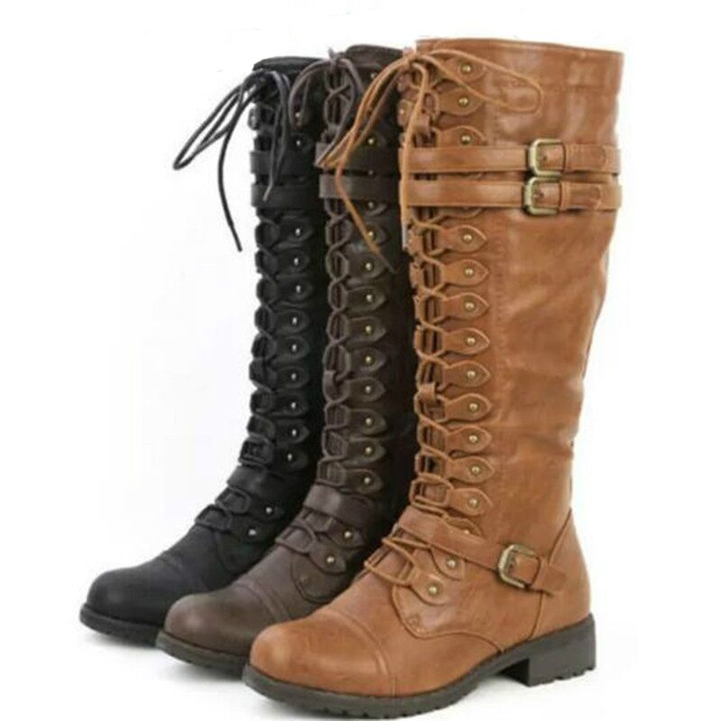 Sexy Lace Up Knee High Boots Women Fashion Boots Flats Shoes Woman Square Heel Rubber Flock Boots Botas Winter Buckle Size 43 cicime summer fashion solid rivets lace up knee high boot high heel women boots black casual woman boot high heel women boots
