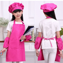 Kitchen Aprons Chef-Hats Children Sleeve Painting-Cooking Baking Waists Art with