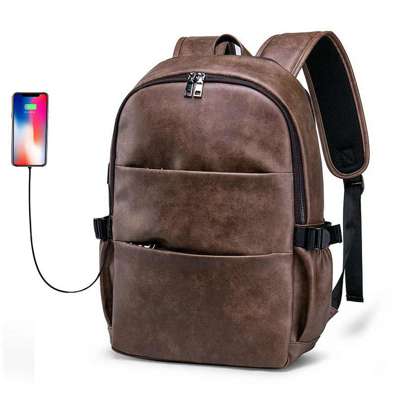 Fashion Backpack Men Bag Fits 15.6 Inches Laptop School College Man Backpacks PU Leather 2019 Business Travel Male Backpack