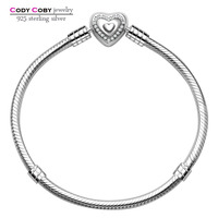 925 Sterling Silver Snake Chain With Wishful Heart Bead Hand Bracelets Bangle For Women Men Berloques