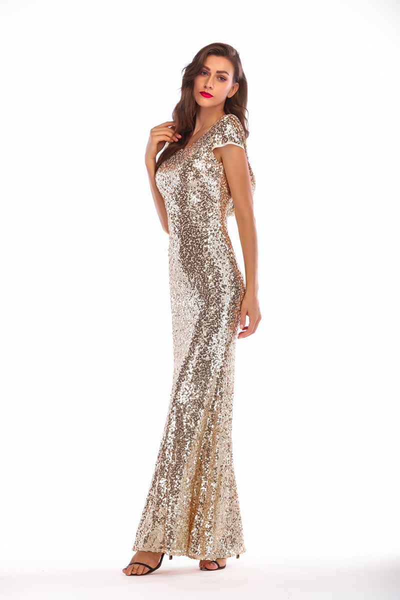 9abd81f016ca8 US $27.68 12% OFF|2019 Spring Women Golden Sparkly Prom Sequin Dress  Elegant Brilliant Long Mermaid Party Dress Plus Size Maxi Evening  Clothes-in ...
