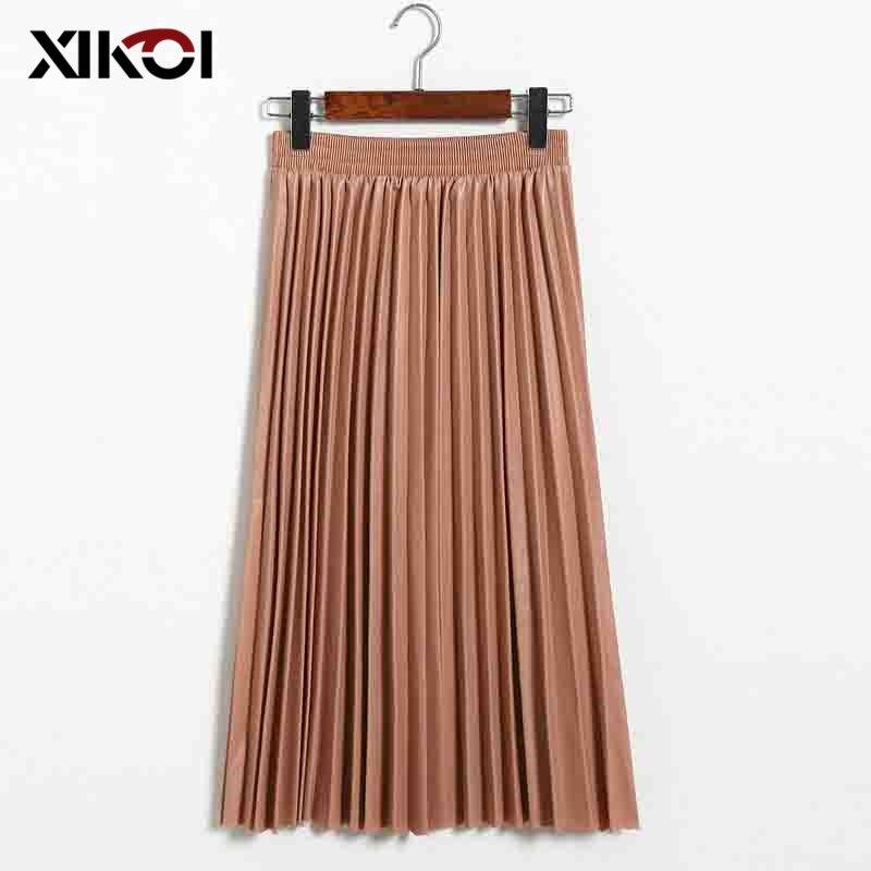 XIKOI Faux Leather Skirt Women Autumn Winter Elegant Midi Long SKirts Women High Waist Pleated PU Skirt Female Faldas Largas