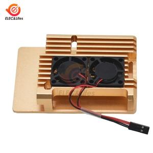 Image 5 - Siyah CNC alüminyum alaşım kılıf kabuk için ahududu Pi 4 3 Model B/B + kılıf kutusu ile çift soğutma fanı ısı emici radyatör altın/kırmızı