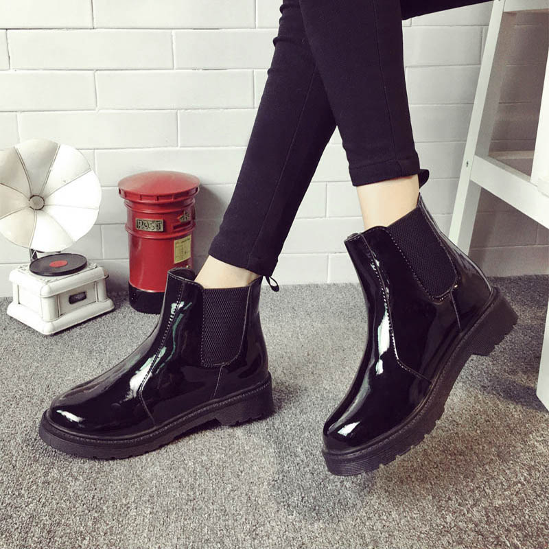 Verni Cheville Dames Femmes Bloc En Femme Mcckle Bottes Talon Chaussures Slip forme Casual Loisirs Cuir Chelsea Plate On Black Courtes 70a1B
