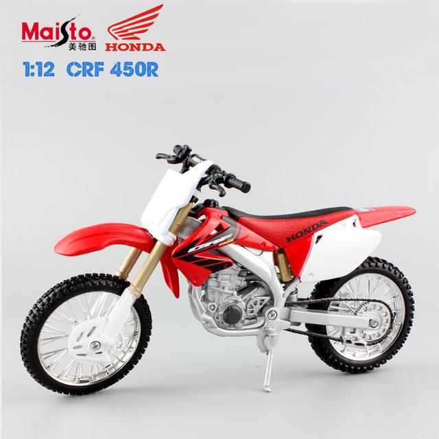Maisto 1:12 escala honda crf 450r moto carrera de coches de fundición de metal modelos de motocicletas hotwheels carros tanque para niños juguetes