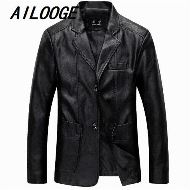 2016 Весна Мужские Куртки Плюс Размер 5XL 6XL Куртки Moto Кожаные Куртки Мужчины Тонкий Jaqueta Де Couro Masculina Высокое Качество