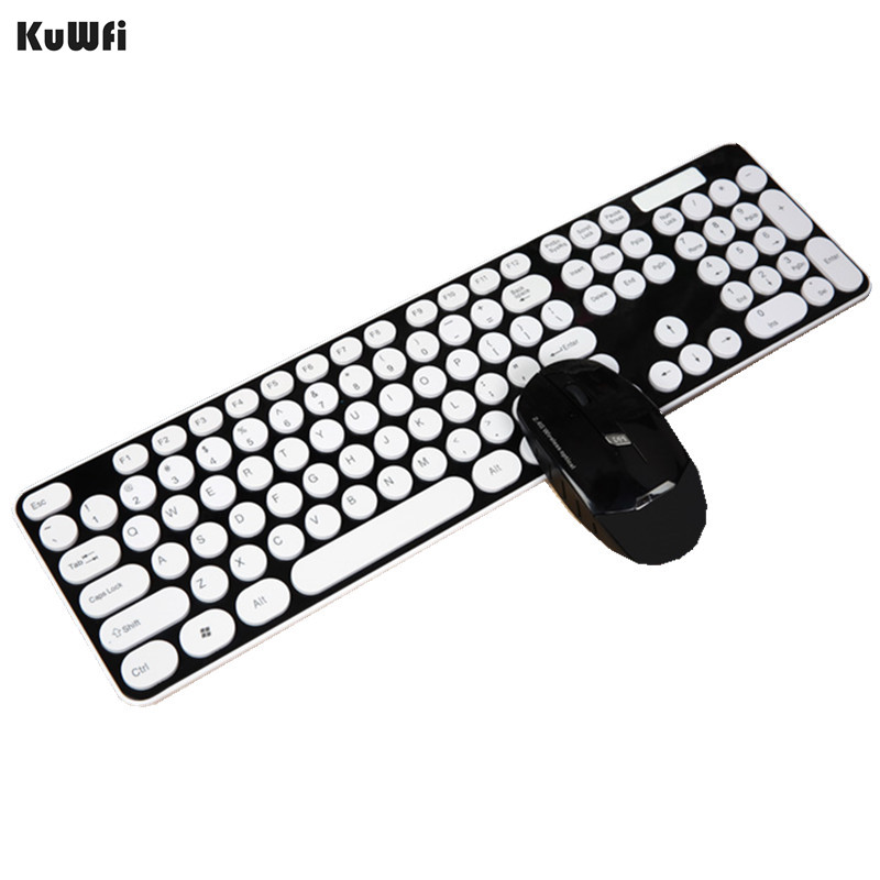 Mute 2.4G Wireless Ultra-thin Keyboard With Optical Mouse USB Dongle Combo Set For DESKTOP PC Laptop Windows XP /7/8/10 Android [avatto] thin 2 4ghz usb wireless mini keyboard with number touchpad numeric keypad for android windows tablet desktop laptop pc