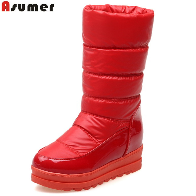 ASUMER new arrive women boots fashion solid color ladies snow boots height increasing ankle boots Keep warm big size 34-43