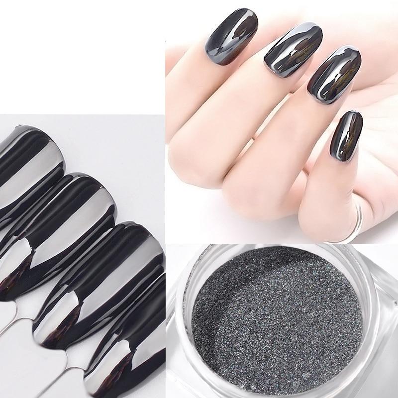 Magic Mirror Black Nail Glitter Pigment Powder 1g Super Smooth Nail Art Glitter Chrome Dust Manicure Nail Decorations