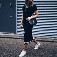 Fashion Women Slim Long Dress Striped Short Sleeves O Neck Tight Sporty Pencil Dress Women Summer Casual Bodycon Tshirt Dress
