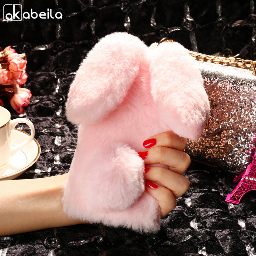 AKABEILA Cute Rabbit Fur Soft Phone Cases For HTC 626 Case Silicon TPU Coque Funda For HTC Desire 628 Cover 650 A32 5.0 inch