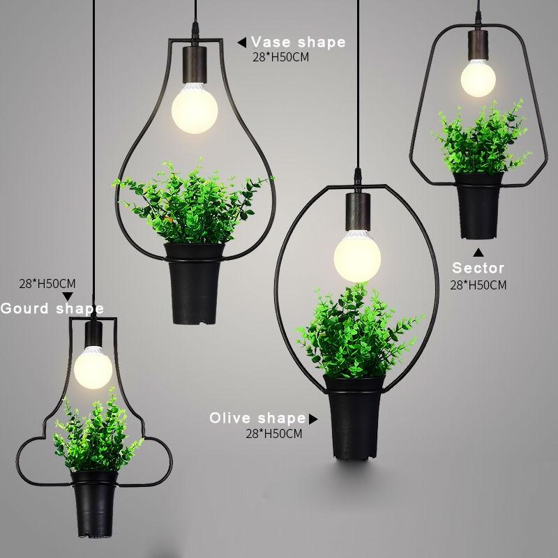 Creative Plant Art Pendant Fixtures Dining Room Lights
