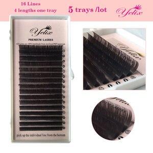 Image 4 - Yelix mixd כהה חום פו מינק ריסים טבעי שווא פרט ריסי ריסים צבעוניים הארכת מזויף לאש סט עבור איפור