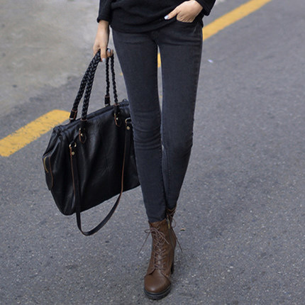 a3217ff5141 2015 Autumn Fashion Women High Waist Jeans Casual Denim Skinny Plus Size  Pencil Pants Capris Flare Leg Ripped Black Skinny Jeans-in Jeans from  Women s ...