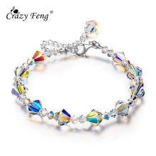 цена на Crazy Feng 2019 Trendy Unique Sparkle Crystal Beads Women Bracelets Charm Fashion Engagement Party Jewelry Gifts
