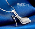 925 Sterling Silver Charms Pendant Necklace Hight Heel Shape Delicate CZ Beautiful Cross Woman's Pendant necklace accessories
