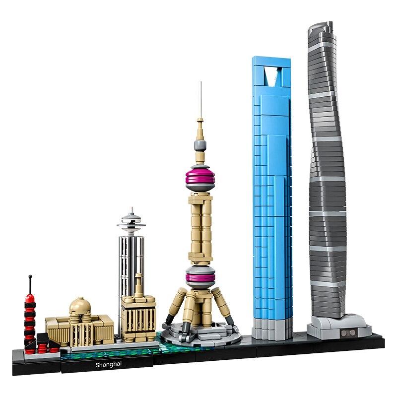 Nouveau compatible Legoinglys Ville Architecture Shanghai skyline ensemble Blocs de Construction Briques Jouets Cadeau pour les Enfants en Charge