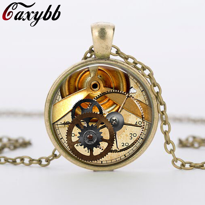 HOT Selling New 2015 Clock font b Watch b font Necklace font b Steampunk b font