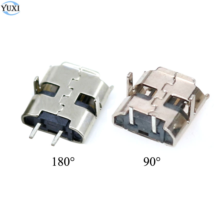 YuXi 10pcs Micro USB 2pin 90/180 Degrees B Type Female Connector For Mobile Phone Micro USB Jack Connector 2 Pin Charging Port