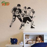 A Group Ice Hockey Player In The Game Wall Sticker Transfers Home Decor Vinyl Removable Sport Wall Mural