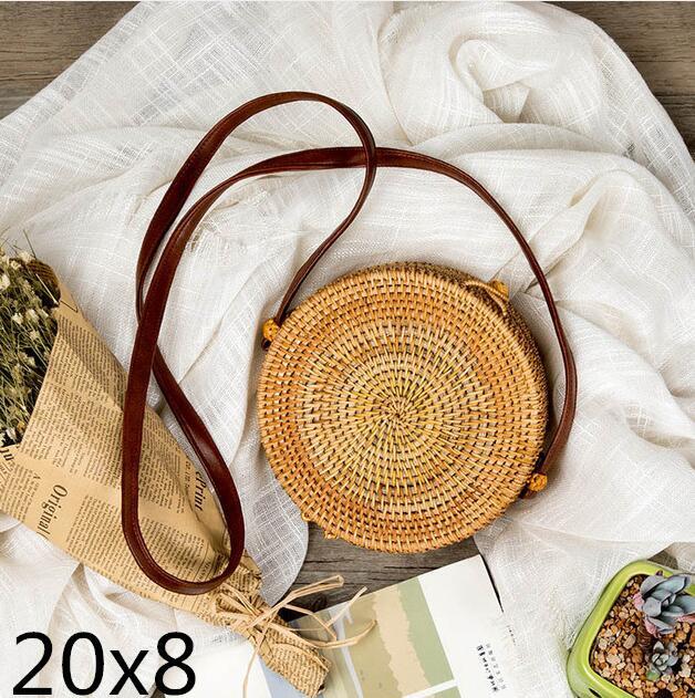 Woven Rattan Bag Round Straw Shoulder Bag Small Beach HandBags Women Summer Hollow Handmade Messenger Crossbody Bags 7