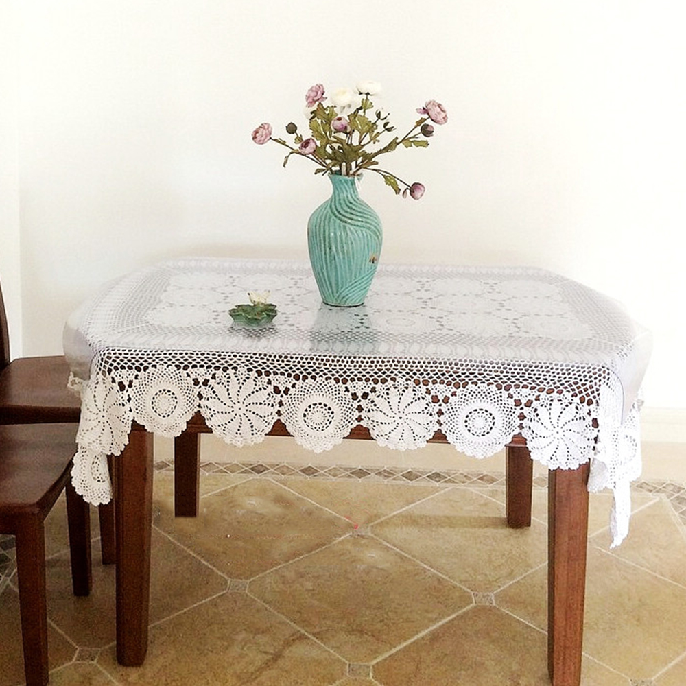 Sofa Table Cover Yazi Handmade Cotton Hollow Floral Tablecloths Thread  Crochet Table Cover Sofa Piano Decorative Cover 3 Size In Tablecloths From  Home ...