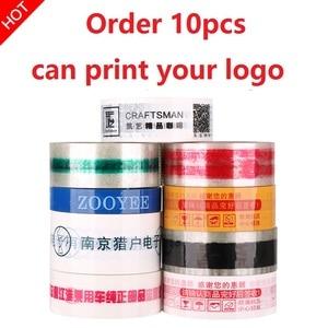10Pcs x 100meter Angepasst Logo Band Roll Transparent Verpackung Band 45/50/60mm Breite Rot blau Schwarz Grün Logo Klar Band