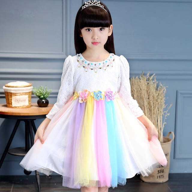 dc9e022ec4ad Autumn Winter Girls Rainbow Tutu Dress Pearl Floral Birthday Festival Kids  Long Sleeve Dresses Girl Party Photo Props Vestido