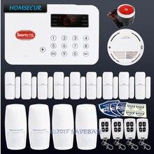 HOMSECUR Wireless Telephone Line Autodial Burglar Intruder Alarm System 4 PIR Door Sensor With Smoke Detector