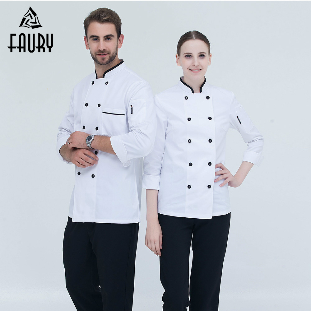2018 New Arrival High Quality Chef Uniform Long-sleeved Double Breasted Kitchen Bakery Restaurant Chef Jacket Workwear Chef Coat