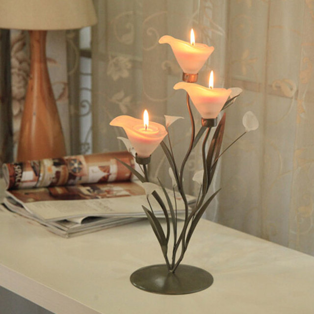 Beau Calla Lily Candle Holder Home Decoration Flower Metal Stand Candle Stand  Fashion Decor Wedding Gifts