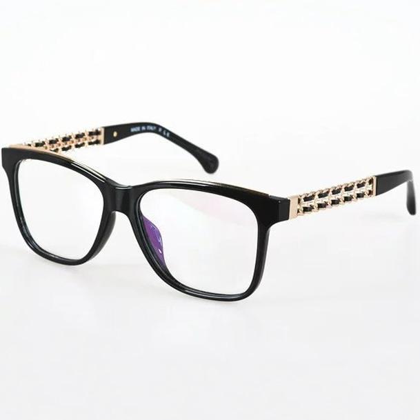 Venta 2017 Nueva Cadena de Metal Armas lentes de La Manera Enmarcan Gafas De Grau Femininos Marca Retro Gafas de Marco Mujeres Marco Óptico